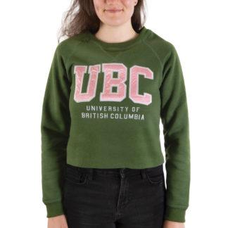 446 Womens fleece LS Crop Crew UBC