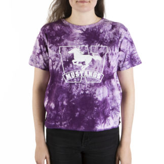 332 Womens Crop SS tee Mustangs tie dye