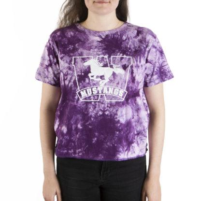 332 Womens Crop SS tee Mustangs tie dye