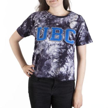 332 Womens Crop SS Tee UBC tie dye front
