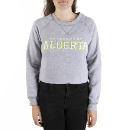 446 Womens Crop Crew U OF ALBERTA front