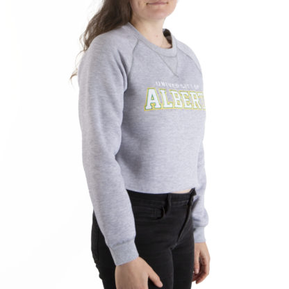 446 Womens Crop Crew U OF ALBERTA side